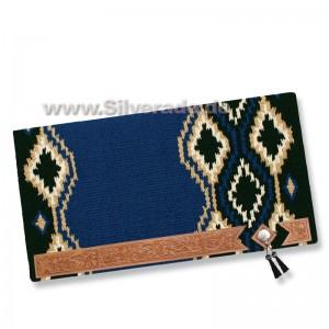 2-171 Diamand blau Showdecke Blanket, echt Wolle mit Lederbesatz und Tassel