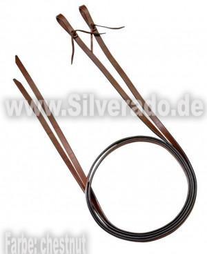 Lederzügel mit geschlauften Enden Farbe in dunkelbraun & chestnut & natur