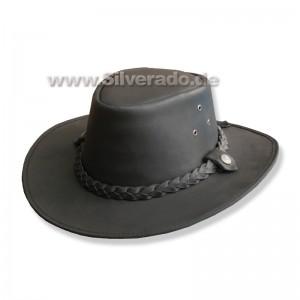 Rindslederhut - Glattleder, hochwertig (schwarz) - L (58 cm)