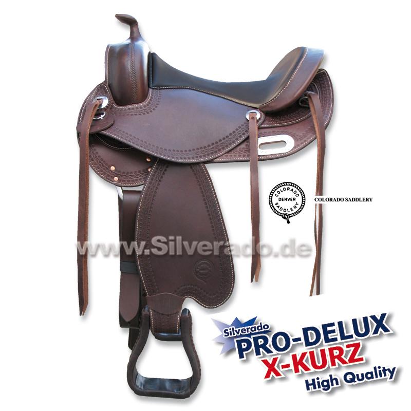 "0-9401-2 braun Pro-Delux X-Kurz Lederbaum-Art Baumloser Westernsattel Colorado-Saddlery / Silverado 15,5 """